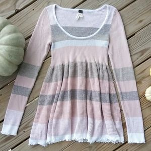 Free People Pink Striped Empire Waist Sweater